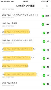 Visa LINE Payクレジットカード利用履歴