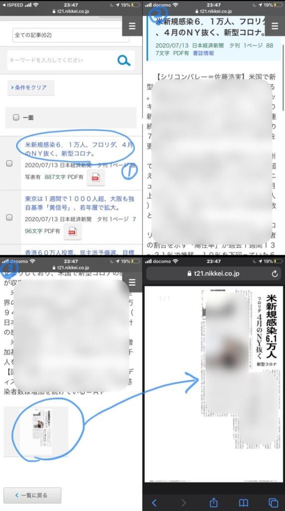 日経テレコン(楽天証券版)での記事閲覧画面